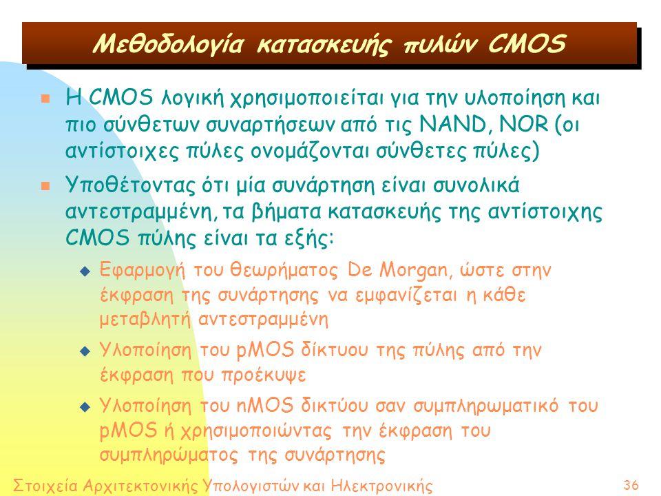 Στοιχεία Αρχιτεκτονικής Υπολογιστών και Ηλεκτρονικής 36 n H CMOS λογική χρησιμοποιείται για την υλοποίηση και πιο σύνθετων συναρτήσεων από τις NAND, NOR (οι αντίστοιχες πύλες ονομάζονται σύνθετες πύλες) n Υποθέτοντας ότι μία συνάρτηση είναι συνολικά αντεστραμμένη, τα βήματα κατασκευής της αντίστοιχης CMOS πύλης είναι τα εξής: u Εφαρμογή του θεωρήματος De Morgan, ώστε στην έκφραση της συνάρτησης να εμφανίζεται η κάθε μεταβλητή αντεστραμμένη u Υλοποίηση του pMOS δίκτυου της πύλης από την έκφραση που προέκυψε u Υλοποίηση του nMOS δικτύου σαν συμπληρωματικό του pMOS ή χρησιμοποιώντας την έκφραση του συμπληρώματος της συνάρτησης Μεθοδολογία κατασκευής πυλών CMOS