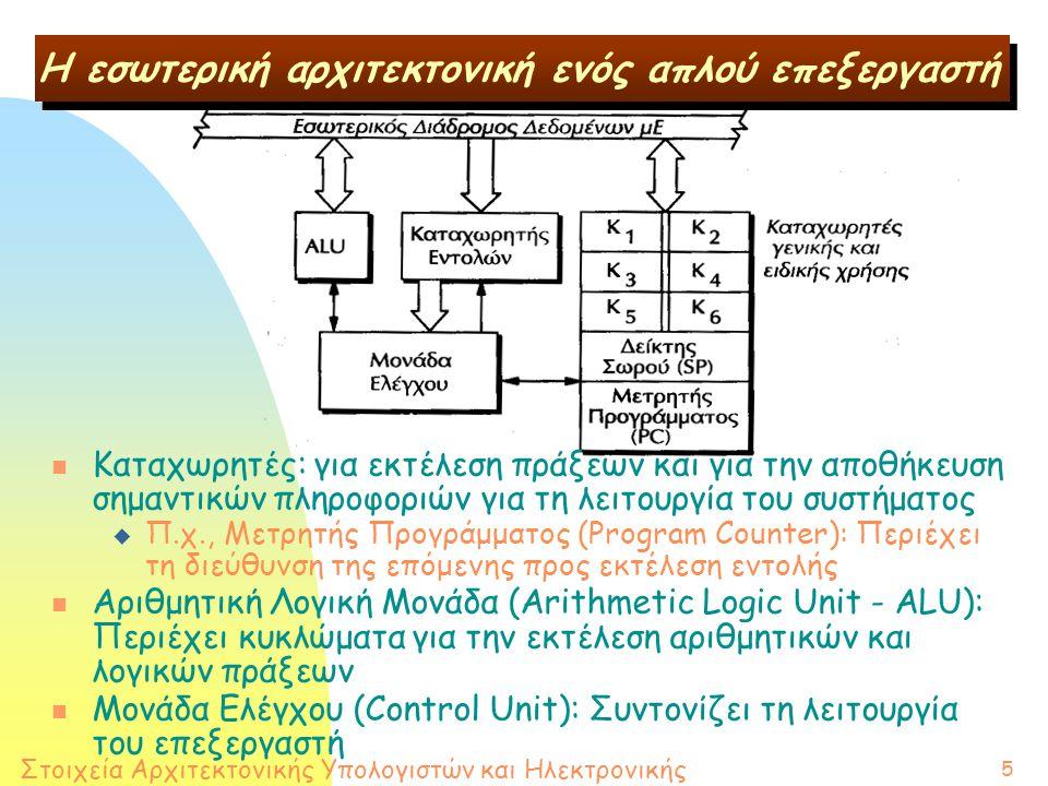 Στοιχεία Αρχιτεκτονικής Υπολογιστών και Ηλεκτρονικής 5 H εσωτερική αρχιτεκτονική ενός απλού επεξεργαστή n Καταχωρητές: για εκτέλεση πράξεων και για την αποθήκευση σημαντικών πληροφοριών για τη λειτουργία του συστήματος u Π.χ., Μετρητής Προγράμματος (Program Counter): Περιέχει τη διεύθυνση της επόμενης προς εκτέλεση εντολής n Αριθμητική Λογική Μονάδα (Arithmetic Logic Unit - ALU): Περιέχει κυκλώματα για την εκτέλεση αριθμητικών και λογικών πράξεων n Μονάδα Ελέγχου (Control Unit): Συντονίζει τη λειτουργία του επεξεργαστή