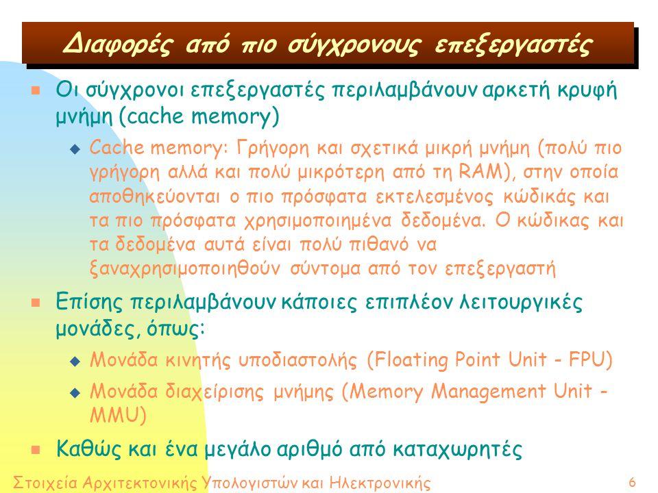 Στοιχεία Αρχιτεκτονικής Υπολογιστών και Ηλεκτρονικής 6 n Οι σύγχρονοι επεξεργαστές περιλαμβάνουν αρκετή κρυφή μνήμη (cache memory) u Cache memory: Γρήγορη και σχετικά μικρή μνήμη (πολύ πιο γρήγορη αλλά και πολύ μικρότερη από τη RAM), στην οποία αποθηκεύονται ο πιο πρόσφατα εκτελεσμένος κώδικάς και τα πιο πρόσφατα χρησιμοποιημένα δεδομένα.