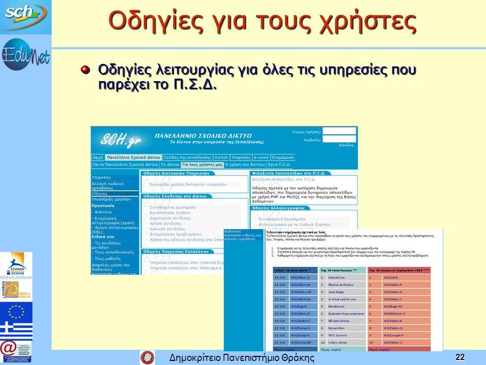 Δημοκρίτειο Πανεπιστήμιο Θράκης 22 Οδηγίες για τους χρήστες Οδηγίες λειτουργίας για όλες τις υπηρεσίες που παρέχει το Π.Σ.Δ.