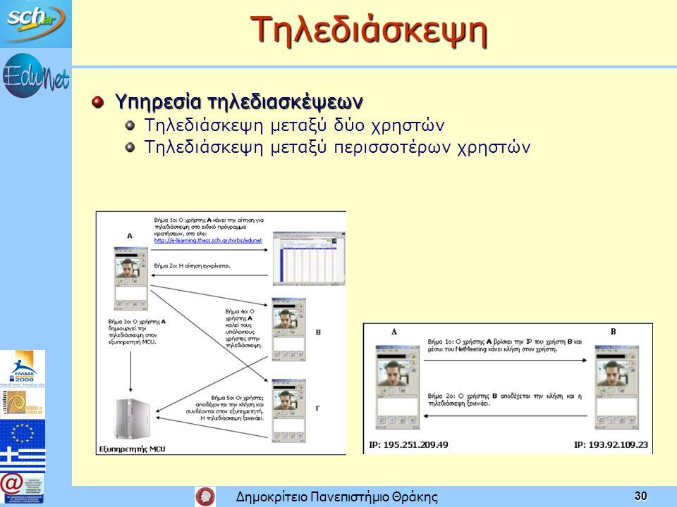 Δημοκρίτειο Πανεπιστήμιο Θράκης 30 Τηλεδιάσκεψη Υπηρεσία τηλεδιασκέψεων Τηλεδιάσκεψη μεταξύ δύο χρηστών Τηλεδιάσκεψη μεταξύ περισσοτέρων χρηστών