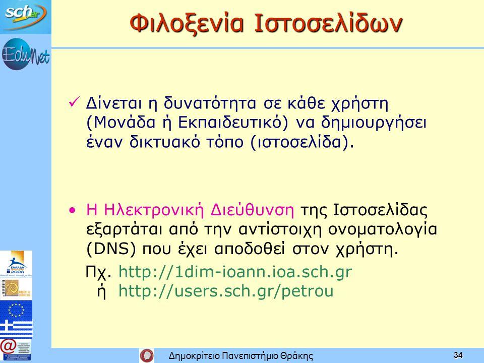 Δημοκρίτειο Πανεπιστήμιο Θράκης 34 Φιλοξενία Ιστοσελίδων • •Η Ηλεκτρονική Διεύθυνση της Ιστοσελίδας εξαρτάται από την αντίστοιχη ονοματολογία (DNS) που έχει αποδοθεί στον χρήστη.