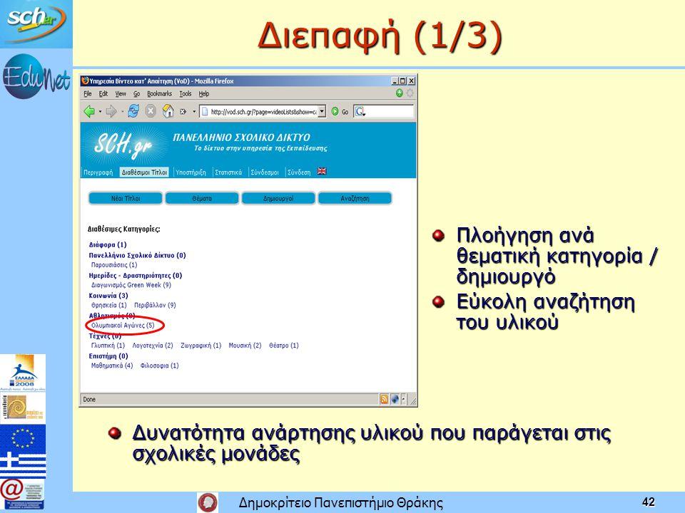 Δημοκρίτειο Πανεπιστήμιο Θράκης 42 Διεπαφή (1/3) Δυνατότητα ανάρτησης υλικού που παράγεται στις σχολικές μονάδες Πλοήγηση ανά θεματική κατηγορία / δημιουργό Εύκολη αναζήτηση του υλικού