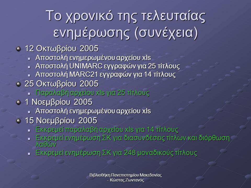Βιβλιοθήκη Πανεπιστημίου Μακεδονίας - Κώστας Ζωντανός Το χρονικό της τελευταίας ενημέρωσης (συνέχεια) 12 Οκτωβρίου 2005  Αποστολή ενημερωμένου αρχείο