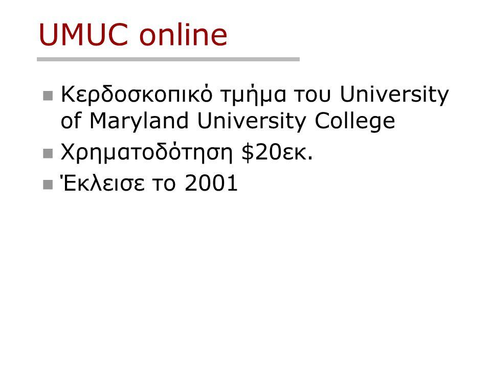 UMUC online  Κερδοσκοπικό τμήμα του University of Maryland University College  Χρηματοδότηση $20εκ.  Έκλεισε το 2001