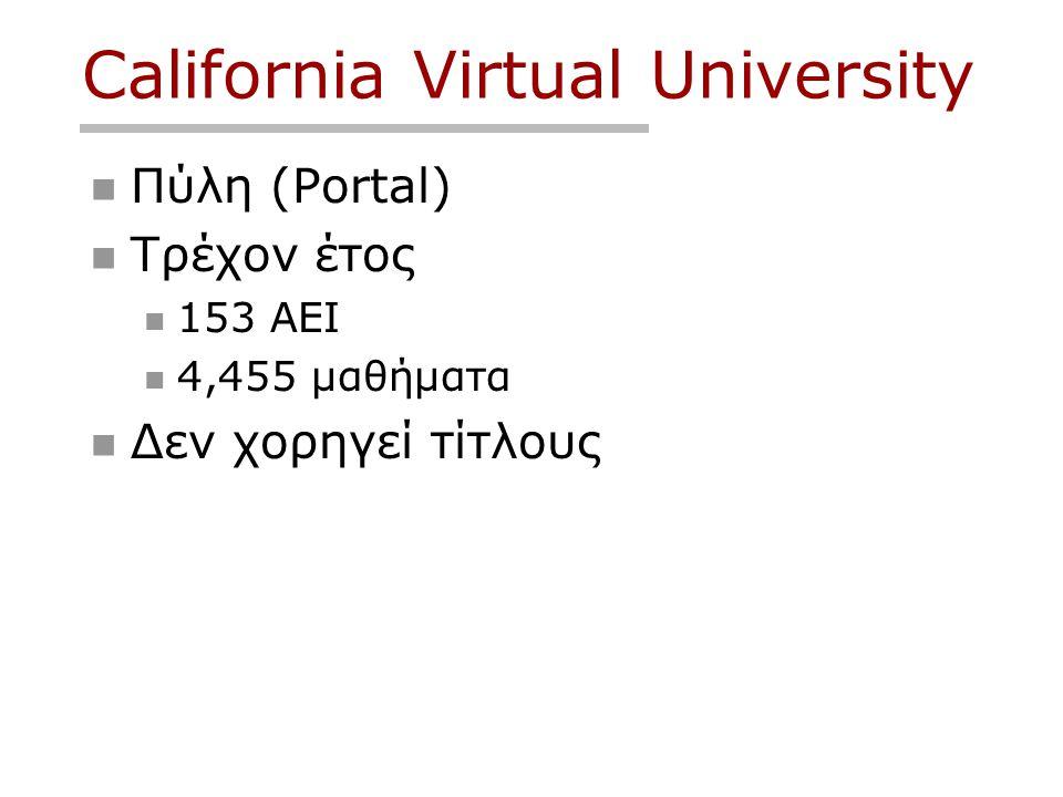 California Virtual University  Πύλη (Portal)  Τρέχον έτος  153 ΑΕΙ  4,455 μαθήματα  Δεν χορηγεί τίτλους