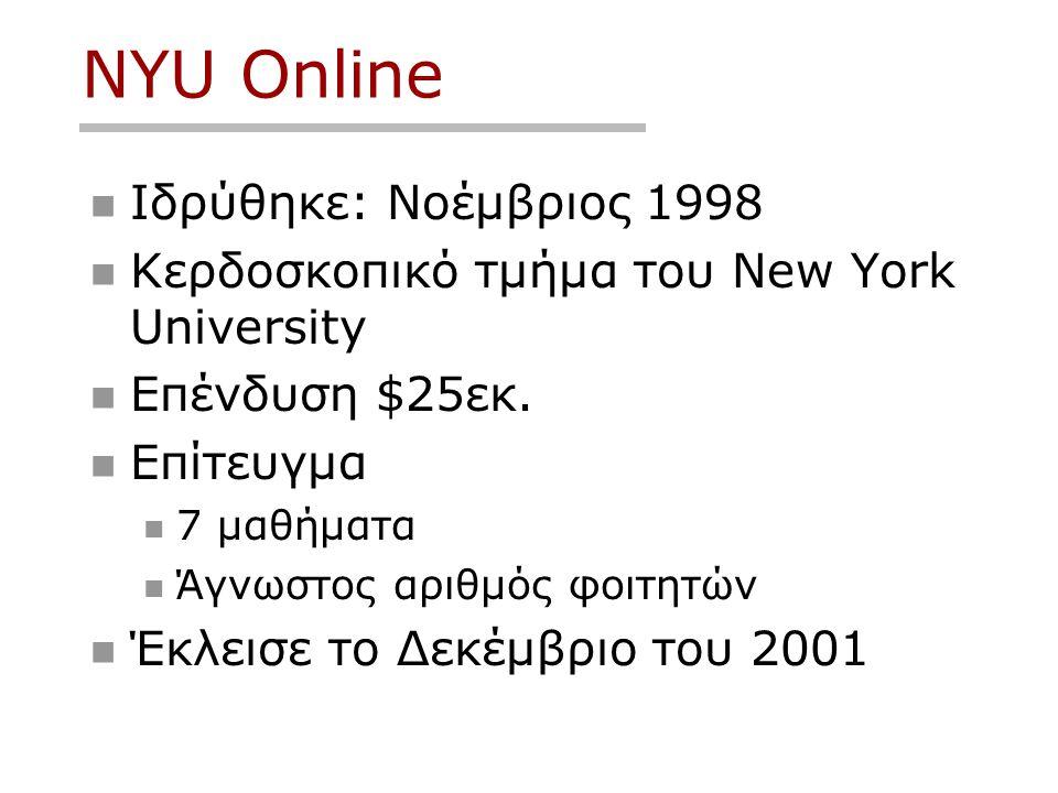 NYU Online  Ιδρύθηκε: Νοέμβριος 1998  Κερδοσκοπικό τμήμα του New York University  Επένδυση $25εκ.  Επίτευγμα  7 μαθήματα  Άγνωστος αριθμός φοιτη