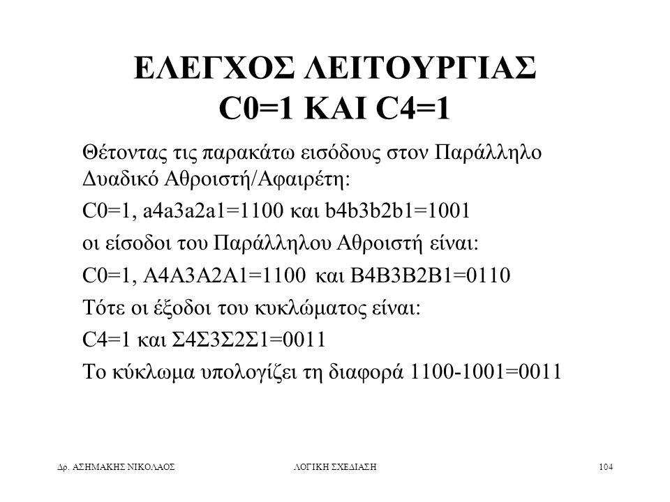 Δρ. ΑΣΗΜΑΚΗΣ ΝΙΚΟΛΑΟΣΛΟΓΙΚΗ ΣΧΕΔΙΑΣΗ104 ΕΛΕΓΧΟΣ ΛΕΙΤΟΥΡΓΙΑΣ C0=1 ΚΑΙ C4=1 Θέτοντας τις παρακάτω εισόδους στον Παράλληλο Δυαδικό Αθροιστή/Αφαιρέτη: C0=
