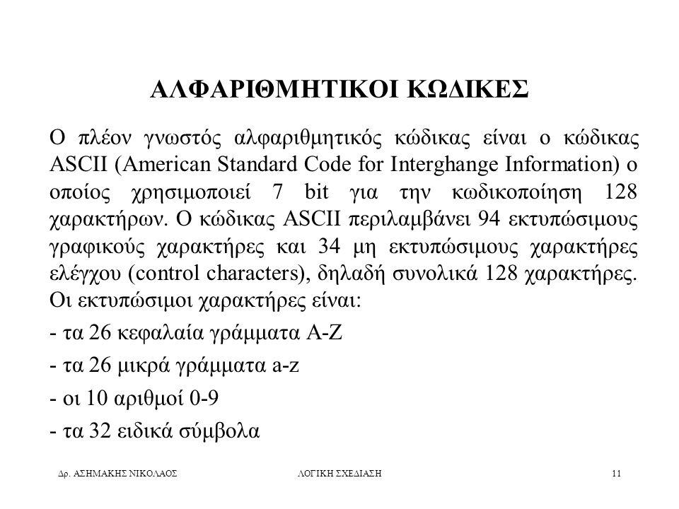 Δρ. ΑΣΗΜΑΚΗΣ ΝΙΚΟΛΑΟΣΛΟΓΙΚΗ ΣΧΕΔΙΑΣΗ11 ΑΛΦΑΡΙΘΜΗΤΙΚΟΙ ΚΩΔΙΚΕΣ Ο πλέον γνωστός αλφαριθμητικός κώδικας είναι ο κώδικας ASCII (American Standard Code for