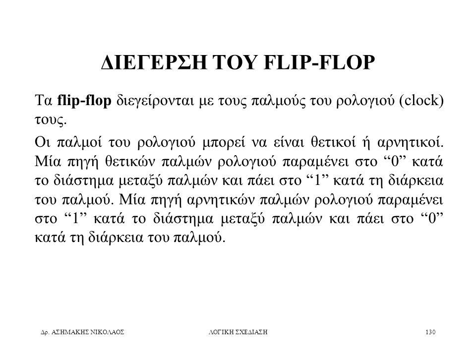 Δρ. ΑΣΗΜΑΚΗΣ ΝΙΚΟΛΑΟΣΛΟΓΙΚΗ ΣΧΕΔΙΑΣΗ130 ΔΙΕΓΕΡΣΗ ΤΟΥ FLIP-FLOP Τα flip-flop διεγείρονται με τους παλμούς του ρολογιού (clock) τους. Οι παλμοί του ρολο