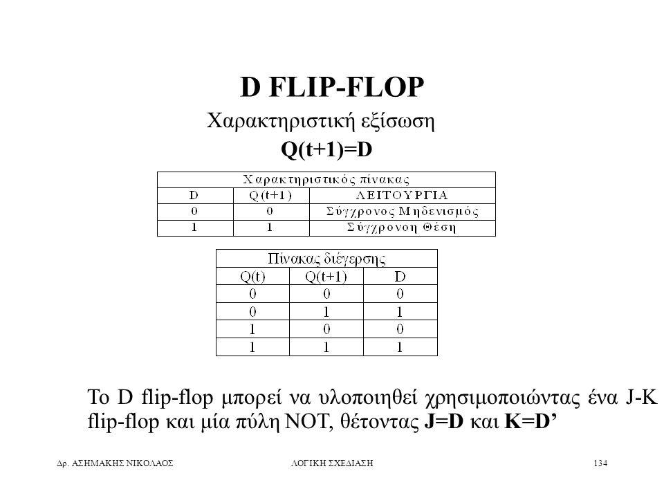Δρ. ΑΣΗΜΑΚΗΣ ΝΙΚΟΛΑΟΣΛΟΓΙΚΗ ΣΧΕΔΙΑΣΗ134 D FLIP-FLOP Χαρακτηριστική εξίσωση Q(t+1)=D Το D flip-flop μπορεί να υλοποιηθεί χρησιμοποιώντας ένα J-K flip-f