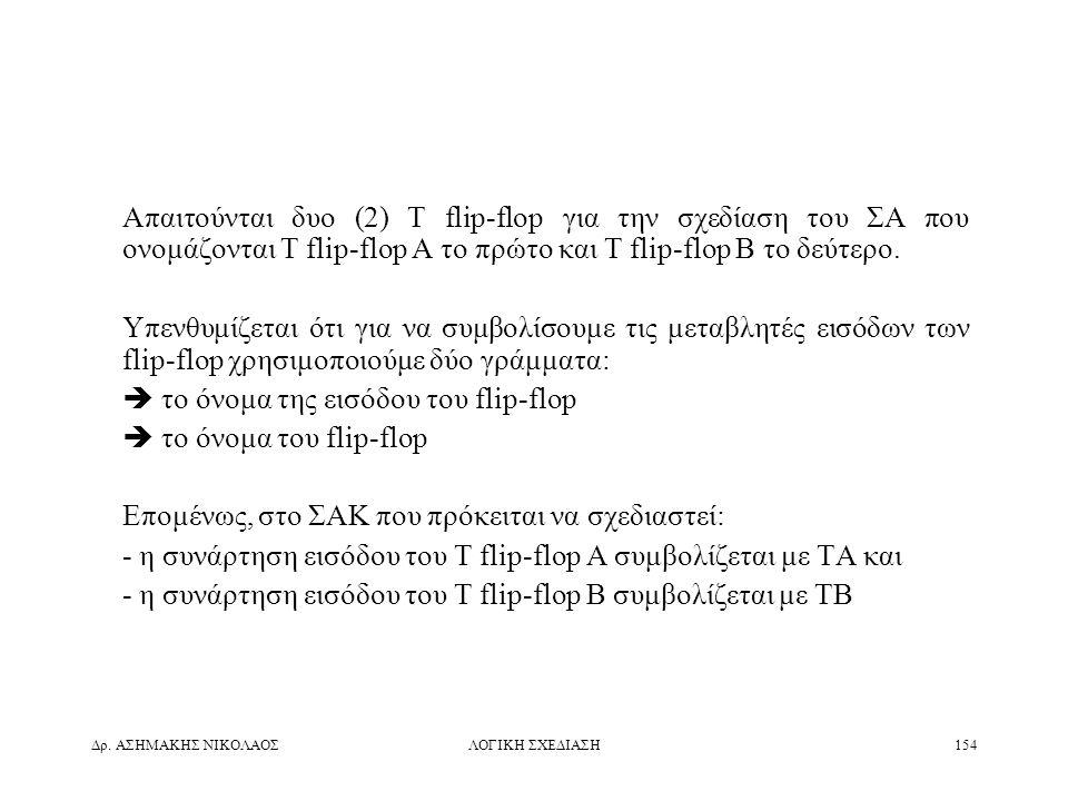 Δρ. ΑΣΗΜΑΚΗΣ ΝΙΚΟΛΑΟΣΛΟΓΙΚΗ ΣΧΕΔΙΑΣΗ154 Απαιτούνται δυο (2) T flip-flop για την σχεδίαση του ΣΑ που ονομάζονται T flip-flop A το πρώτο και T flip-flop