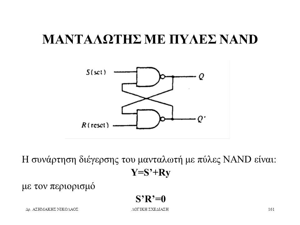 Δρ. ΑΣΗΜΑΚΗΣ ΝΙΚΟΛΑΟΣΛΟΓΙΚΗ ΣΧΕΔΙΑΣΗ161 ΜΑΝΤΑΛΩΤΗΣ ΜΕ ΠΥΛΕΣ NAND Η συνάρτηση διέγερσης του μανταλωτή με πύλες NAND είναι: Y=S'+Ry με τον περιορισμό S'
