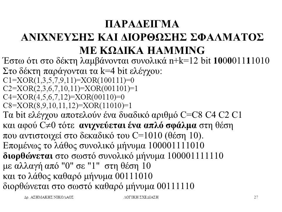 Δρ. ΑΣΗΜΑΚΗΣ ΝΙΚΟΛΑΟΣΛΟΓΙΚΗ ΣΧΕΔΙΑΣΗ27 ΠΑΡΑΔΕΙΓΜΑ ΑΝΙΧΝΕΥΣΗΣ ΚΑΙ ΔΙΟΡΘΩΣΗΣ ΣΦΑΛΜΑΤΟΣ ΜΕ ΚΩΔΙΚΑ HAMMING Έστω ότι στο δέκτη λαμβάνονται συνολικά n+k=12