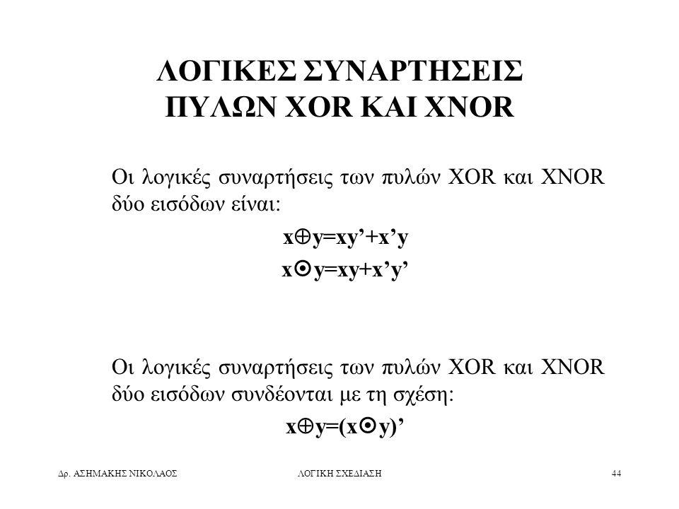 Δρ. ΑΣΗΜΑΚΗΣ ΝΙΚΟΛΑΟΣΛΟΓΙΚΗ ΣΧΕΔΙΑΣΗ44 ΛΟΓΙΚΕΣ ΣΥΝΑΡΤΗΣΕΙΣ ΠΥΛΩΝ XOR ΚΑΙ XNOR Οι λογικές συναρτήσεις των πυλών XOR και XNOR δύο εισόδων είναι: x  y=x