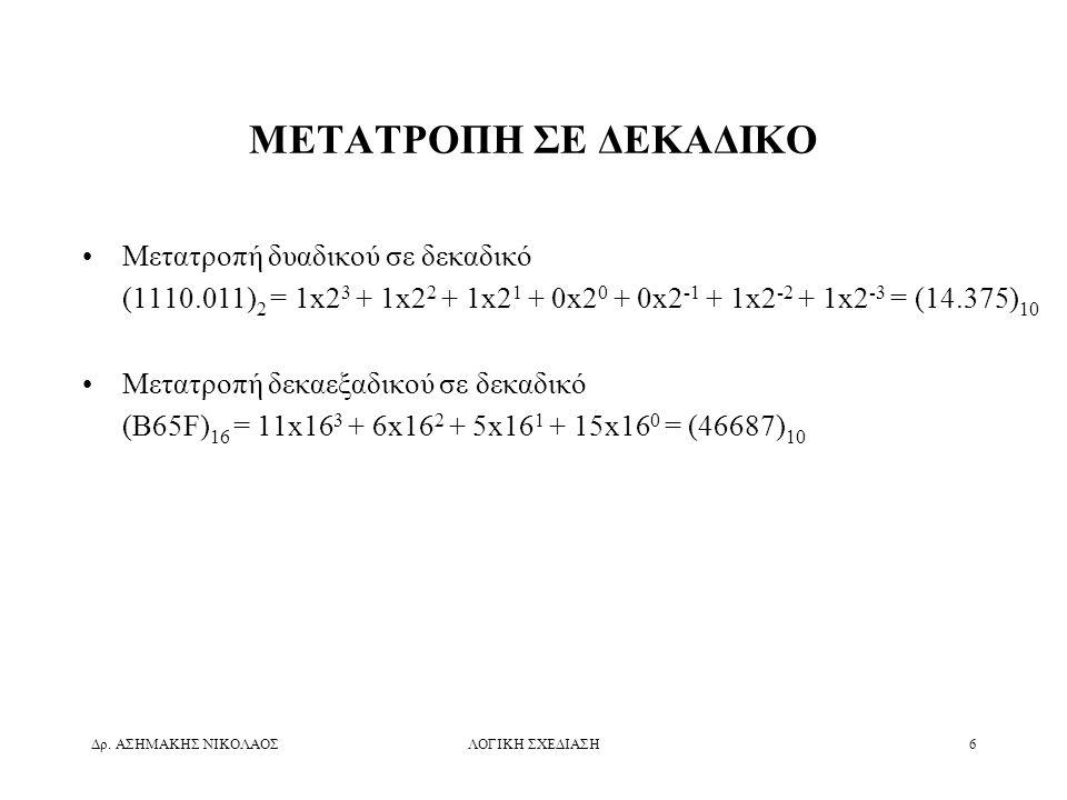 Δρ. ΑΣΗΜΑΚΗΣ ΝΙΚΟΛΑΟΣΛΟΓΙΚΗ ΣΧΕΔΙΑΣΗ6 ΜΕΤΑΤΡΟΠΗ ΣΕ ΔΕΚΑΔΙΚΟ •Μετατροπή δυαδικού σε δεκαδικό (1110.011) 2 = 1x2 3 + 1x2 2 + 1x2 1 + 0x2 0 + 0x2 -1 + 1x