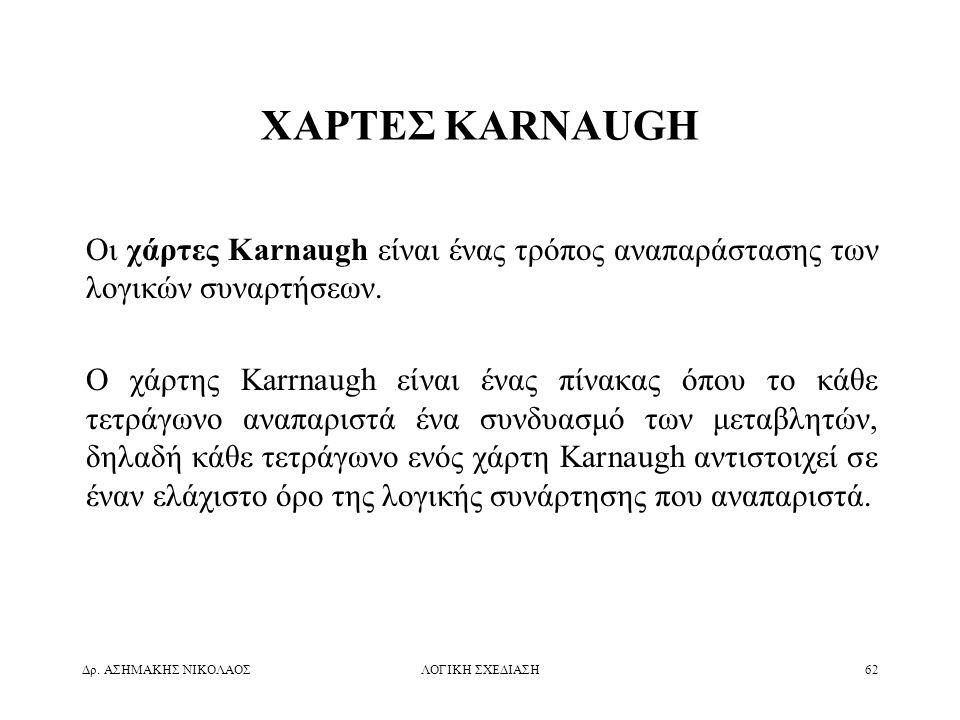 Δρ. ΑΣΗΜΑΚΗΣ ΝΙΚΟΛΑΟΣΛΟΓΙΚΗ ΣΧΕΔΙΑΣΗ62 ΧΑΡΤΕΣ KARNAUGH Οι χάρτες Karnaugh είναι ένας τρόπος αναπαράστασης των λογικών συναρτήσεων. Ο χάρτης Karrnaugh