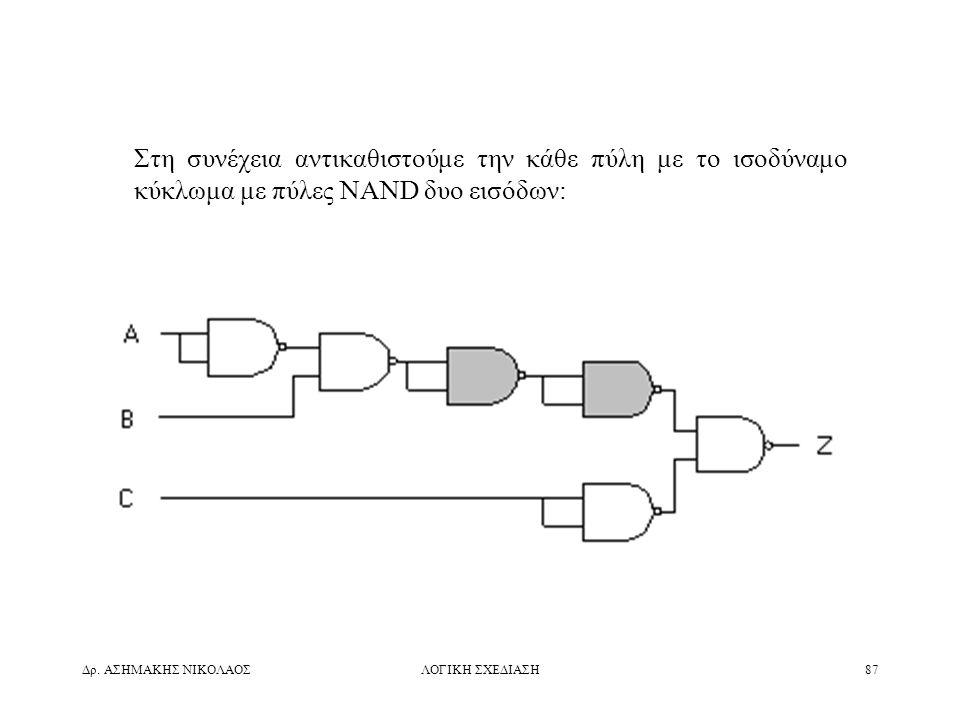 Δρ. ΑΣΗΜΑΚΗΣ ΝΙΚΟΛΑΟΣΛΟΓΙΚΗ ΣΧΕΔΙΑΣΗ87 Στη συνέχεια αντικαθιστούμε την κάθε πύλη με το ισοδύναμο κύκλωμα με πύλες NAND δυο εισόδων: