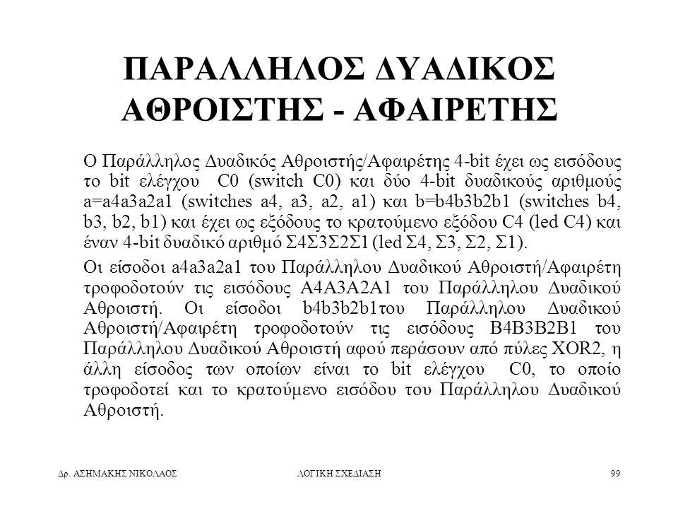 Δρ. ΑΣΗΜΑΚΗΣ ΝΙΚΟΛΑΟΣΛΟΓΙΚΗ ΣΧΕΔΙΑΣΗ99 ΠΑΡΑΛΛΗΛΟΣ ΔΥΑΔΙΚΟΣ ΑΘΡΟΙΣΤΗΣ - ΑΦΑΙΡΕΤΗΣ Ο Παράλληλος Δυαδικός Αθροιστής/Αφαιρέτης 4-bit έχει ως εισόδους το b