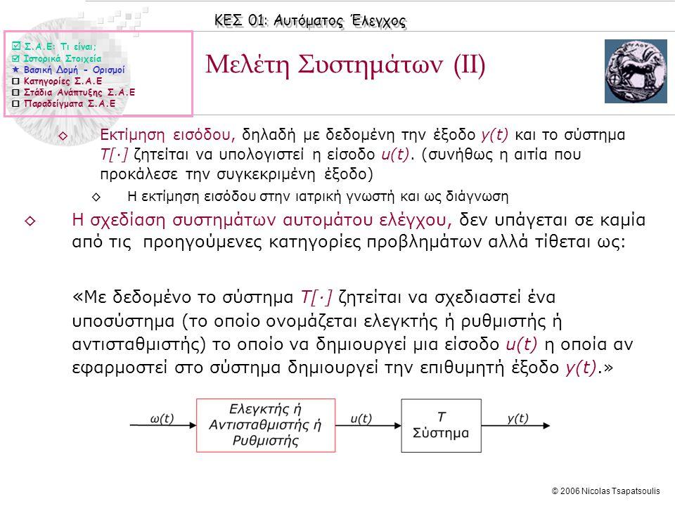 ΚΕΣ 01: Αυτόματος Έλεγχος © 2006 Nicolas Tsapatsoulis ◊Εκτίμηση εισόδου, δηλαδή με δεδομένη την έξοδο y(t) και τo σύστημα Τ[·] ζητείται να υπολογιστεί
