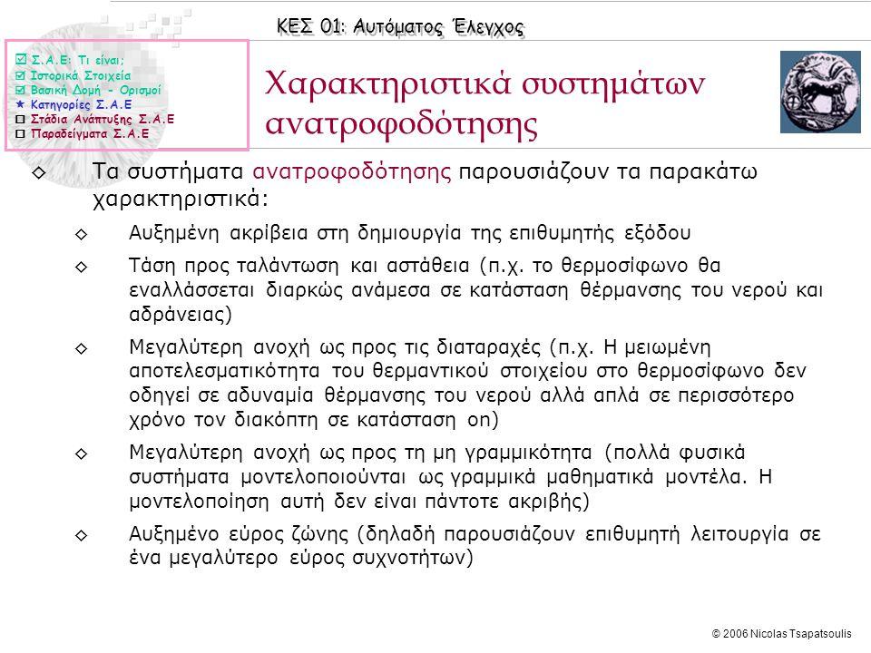 ΚΕΣ 01: Αυτόματος Έλεγχος © 2006 Nicolas Tsapatsoulis Χαρακτηριστικά συστημάτων ανατροφοδότησης  Σ.Α.Ε: Τι είναι;  Ιστορικά Στοιχεία  Βασική Δομή -