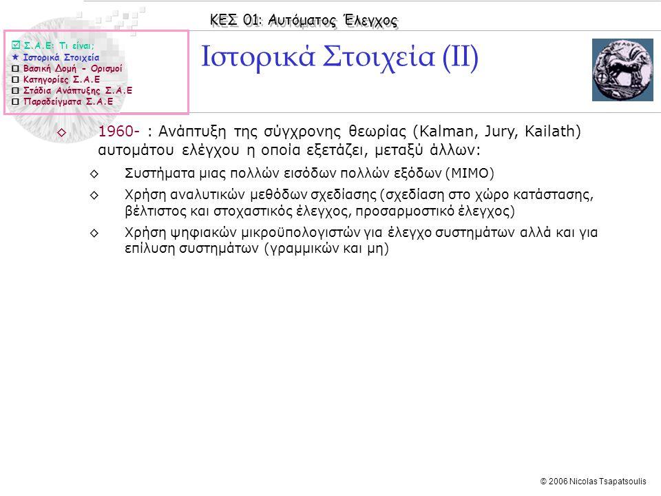 ΚΕΣ 01: Αυτόματος Έλεγχος © 2006 Nicolas Tsapatsoulis ◊Βασικά στοιχεία: ◊Είσοδος: Άναμμα φωτιάς ◊Σύστημα προς έλεγχο: Πύλη ναού ◊Έξοδος: Άνοιγμα πύλης ναού ◊Ρυθμιστής / Ελεγκτής: Συγκοινωνούντα δοχεία νερού, τροχαλίες σχοινιών, αντίβαρο Ο ρυθμιστής του Ήρωνα του Αλεξανδρέα  Σ.Α.Ε: Τι είναι;  Ιστορικά Στοιχεία  Βασική Δομή - Ορισμοί  Κατηγορίες Σ.Α.Ε  Στάδια Ανάπτυξης Σ.Α.Ε  Παραδείγματα Σ.Α.Ε