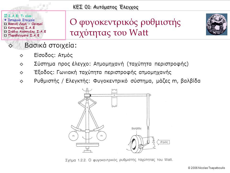 ΚΕΣ 01: Αυτόματος Έλεγχος © 2006 Nicolas Tsapatsoulis Παραδείγματα Συστημάτων Αυτομάτου Ελέγχου ◊Πολλά Σ.Α.Ε είναι σχεδιασμένα έτσι ώστε κάποια μεταβλητή του συστήματος, όπως ηλεκτρική τάση, θέση ή ταχύτητα μιας μάζας, στάθμη ή ροή ενός υγρού, θερμοκρασία ενός θαλάμου.
