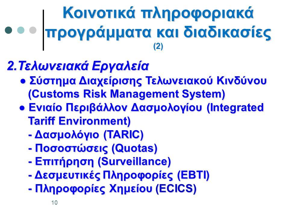 2.Τελωνειακά Εργαλεία ● Σύστημα Διαχείρισης Τελωνειακού Κινδύνου ● Σύστημα Διαχείρισης Τελωνειακού Κινδύνου (Customs Risk Management System) (Customs