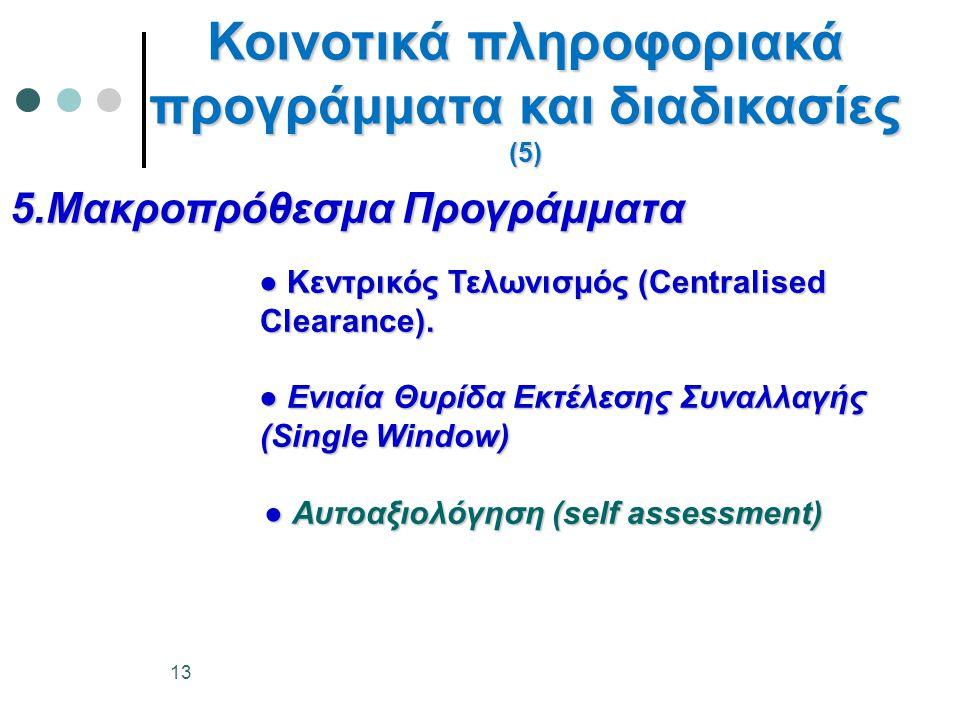5.Μακροπρόθεσμα Προγράμματα ● Κεντρικός Τελωνισμός (Centralised Clearance). ● Κεντρικός Τελωνισμός (Centralised Clearance). ● Ενιαία Θυρίδα Εκτέλεσης
