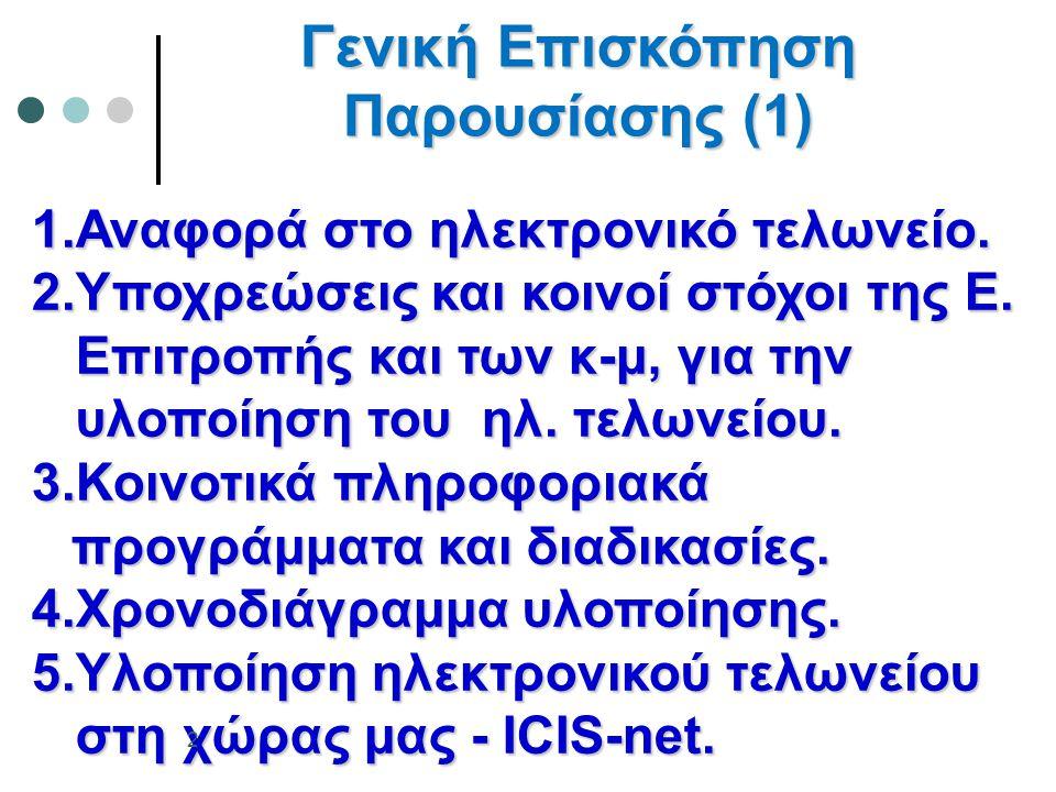 1.Αναφορά στο ηλεκτρονικό τελωνείο. 2.Υποχρεώσεις και κοινοί στόχοι της Ε. Επιτροπής και των κ-μ, για την Επιτροπής και των κ-μ, για την υλοποίηση του