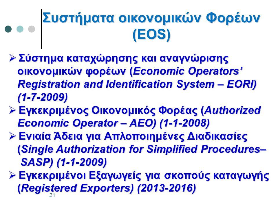 Συστήματα οικονομικών Φορέων (ΕΟS)  Σύστημα καταχώρησης και αναγνώρισης οικονομικών φορέων (Economic Operators' οικονομικών φορέων (Economic Operators' Registration and Identification System – EORI) Registration and Identification System – EORI) (1-7-2009) (1-7-2009)  Εγκεκριμένος Οικονομικός Φορέας (Authorized Economic Operator – AEO) (1-1-2008) Economic Operator – AEO) (1-1-2008)  Ενιαία Άδεια για Απλοποιημένες Διαδικασίες (Single Authorization for Simplified Procedures– (Single Authorization for Simplified Procedures– SASP) (1-1-2009) SASP) (1-1-2009)  Εγκεκριμένοι Εξαγωγείς για σκοπούς καταγωγής (Registered Exporters) (2013-2016) (Registered Exporters) (2013-2016) 21