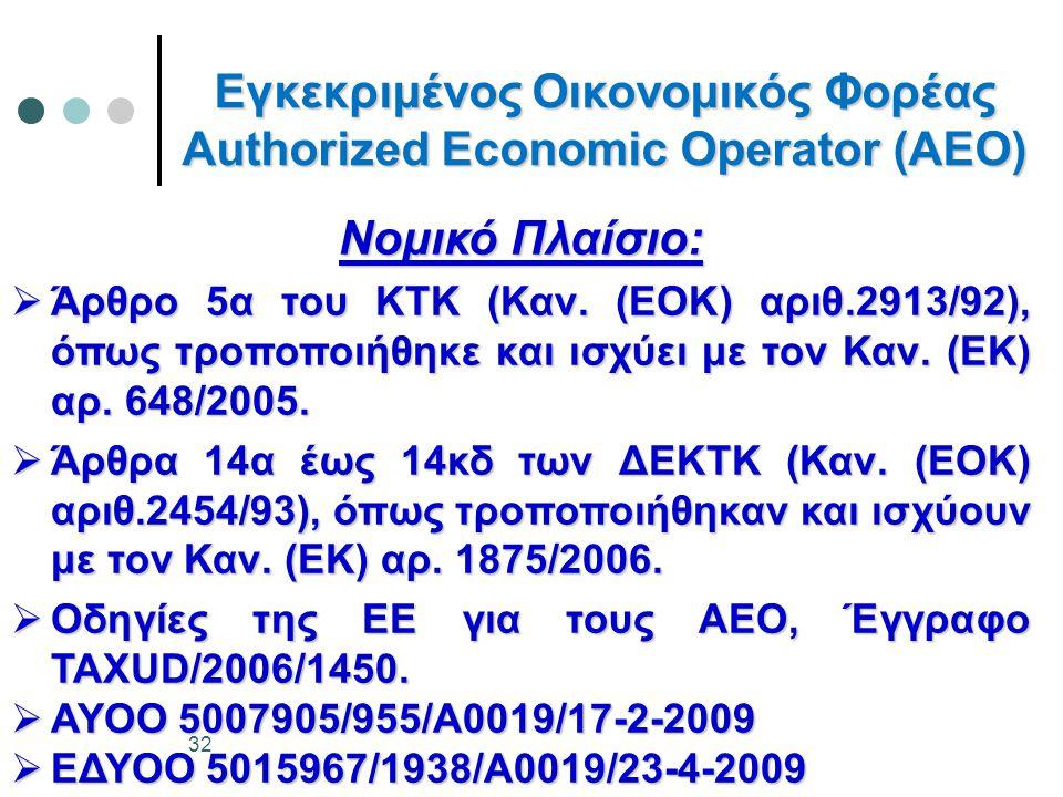 Εγκεκριμένος Οικονομικός Φορέας Authorized Economic Operator (AEO) Νομικό Πλαίσιο:  Άρθρο 5α του ΚΤΚ (Καν. (ΕΟΚ) αριθ.2913/92), όπως τροποποιήθηκε κα