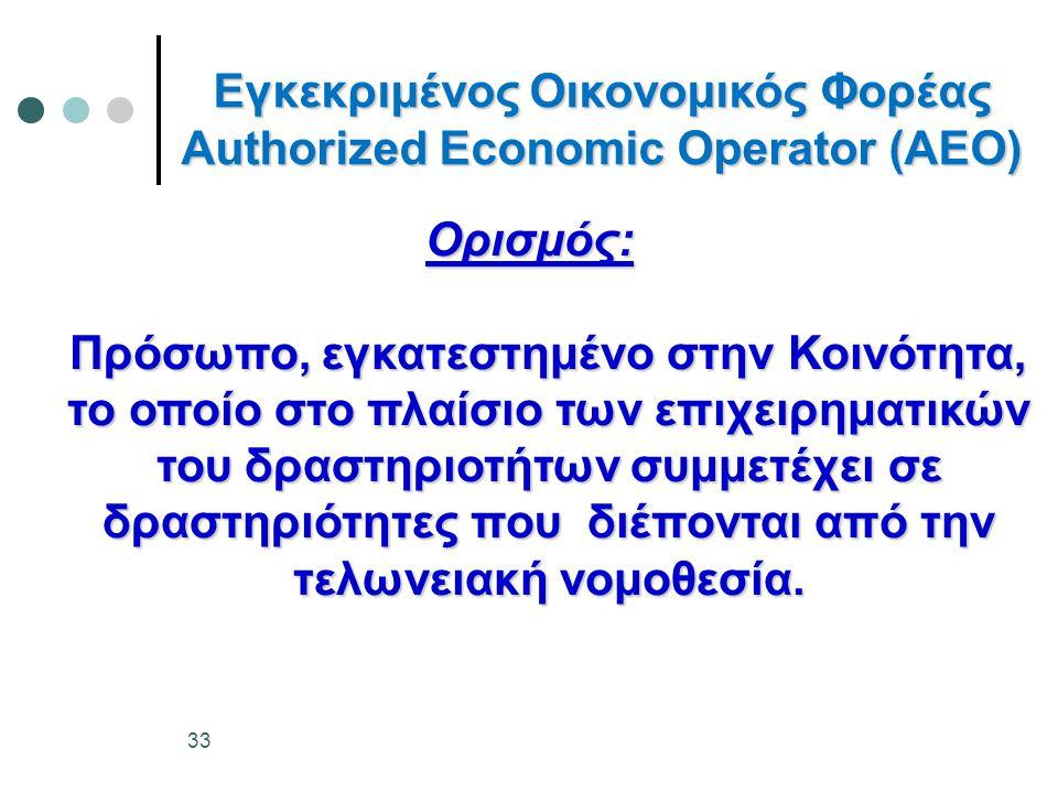 Εγκεκριμένος Οικονομικός Φορέας Authorized Economic Operator (AEO) Ορισμός: Πρόσωπο, εγκατεστημένο στην Κοινότητα, το οποίο στο πλαίσιο των επιχειρημα