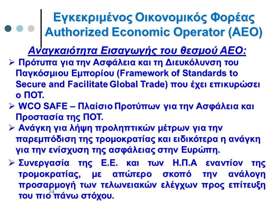 Εγκεκριμένος Οικονομικός Φορέας Authorized Economic Operator (AEO) Αναγκαιότητα Εισαγωγής του θεσμού ΑΕΟ:  Πρότυπα για την Ασφάλεια και τη Διευκόλυνσ
