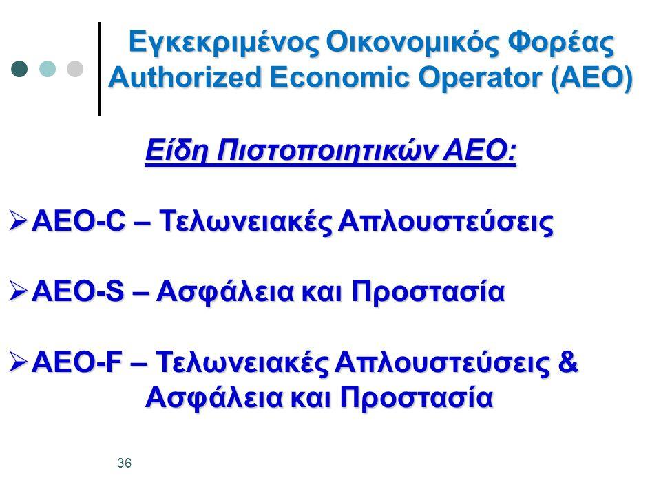 Εγκεκριμένος Οικονομικός Φορέας Authorized Economic Operator (AEO) Είδη Πιστοποιητικών ΑΕΟ:  AEO-C – Τελωνειακές Απλουστεύσεις  AEO-S – Ασφάλεια και
