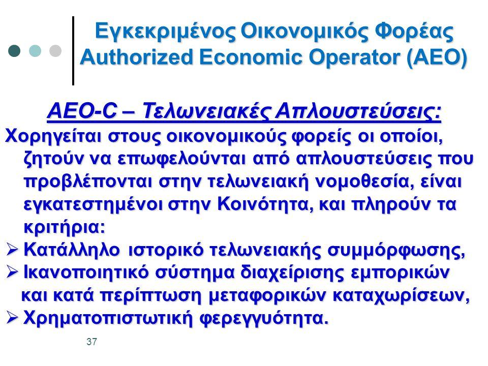 Εγκεκριμένος Οικονομικός Φορέας Authorized Economic Operator (AEO) AEO-C – Τελωνειακές Απλουστεύσεις: Χορηγείται στους οικονομικούς φορείς οι οποίοι, ζητούν να επωφελούνται από απλουστεύσεις που προβλέπονται στην τελωνειακή νομοθεσία, είναι εγκατεστημένοι στην Κοινότητα, και πληρούν τα κριτήρια:  Κατάλληλο ιστορικό τελωνειακής συμμόρφωσης,  Ικανοποιητικό σύστημα διαχείρισης εμπορικών και κατά περίπτωση μεταφορικών καταχωρίσεων, και κατά περίπτωση μεταφορικών καταχωρίσεων,  Χρηματοπιστωτική φερεγγυότητα.