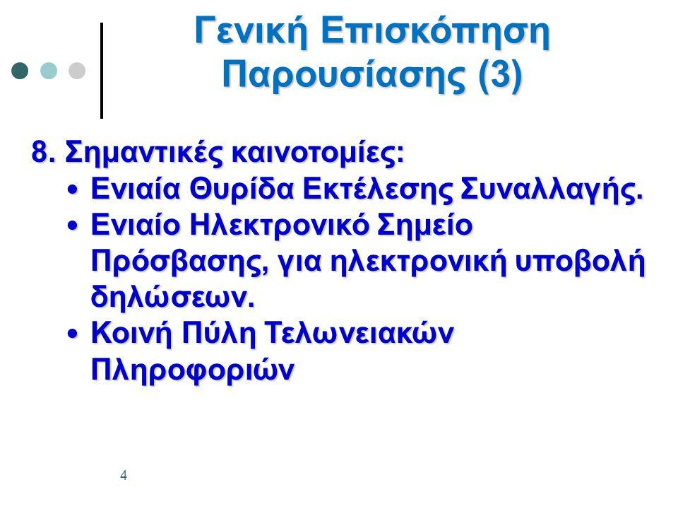 Ενιαία Άδεια Γενική Επισκόπηση (1) 1.Τι είναι Ενιαία Άδεια; 2.Γιατί εμπλέκονται περισσότερα από ένα κ-μ; 3.Ποια θα είναι τα οφέλη της Ενιαίας Άδειας; 4.Παραδείγματα:  Υπάρχουσας κατάστασης  Ενιαίας Άδειας  Κεντρικού Τελωνισμού 5.Που πρέπει να υποβληθεί η αίτηση για χορήγηση Ενιαίας Άδειας; 6.Ποια εμπόδια πρέπει να ξεπεραστούν; 45