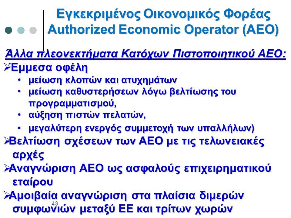 Εγκεκριμένος Οικονομικός Φορέας Authorized Economic Operator (AEO) 43 Άλλα πλεονεκτήματα Κατόχων Πιστοποιητικού ΑΕΟ:  Έμμεσα οφέλη •μείωση κλοπών και ατυχημάτων •μείωση καθυστερήσεων λόγω βελτίωσης του προγραμματισμού, •αύξηση πιστών πελατών, •μεγαλύτερη ενεργός συμμετοχή των υπαλλήλων)  Βελτίωση σχέσεων των ΑΕΟ με τις τελωνειακές αρχές αρχές  Αναγνώριση ΑΕΟ ως ασφαλούς επιχειρηματικού εταίρου εταίρου  Αμοιβαία αναγνώριση στα πλαίσια διμερών συμφωνιών μεταξύ ΕΕ και τρίτων χωρών συμφωνιών μεταξύ ΕΕ και τρίτων χωρών