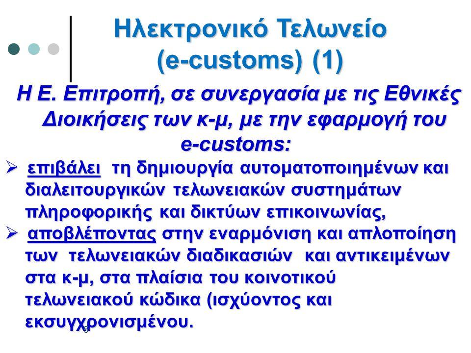 Παράλληλα Συστήματα  ELENXIS (Ολοκληρωμένο Πληροφοριακό Σύστημα Ελεγκτικών Υπηρεσιών Σύστημα Ελεγκτικών Υπηρεσιών Υπουργείου Οικονομικών) Υπουργείου Οικονομικών) - Τελωνειακές Ε.Υ.