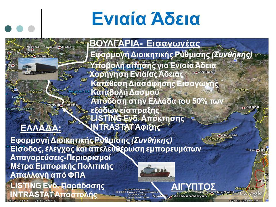 Ενιαία Άδεια ΕΛΛΑΔΑ: ΒΟΥΛΓΑΡΙΑ- Εισαγωγέας Υποβολή αίτησης για Ενιαία Άδεια Χορήγηση Ενιαίας Άδειας Εφαρμογή Διοικητικής Ρύθμισης (Συνθήκης) Κατάθεση Διασάφησης Εισαγωγής Καταβολή Δασμού Απόδοση στην Ελλάδα του 50% των εξόδων είσπραξης Είσοδος, έλεγχος και απελευθέρωση εμπορευμάτων Απαλλαγή από ΦΠΑ LISTING Ενδ.