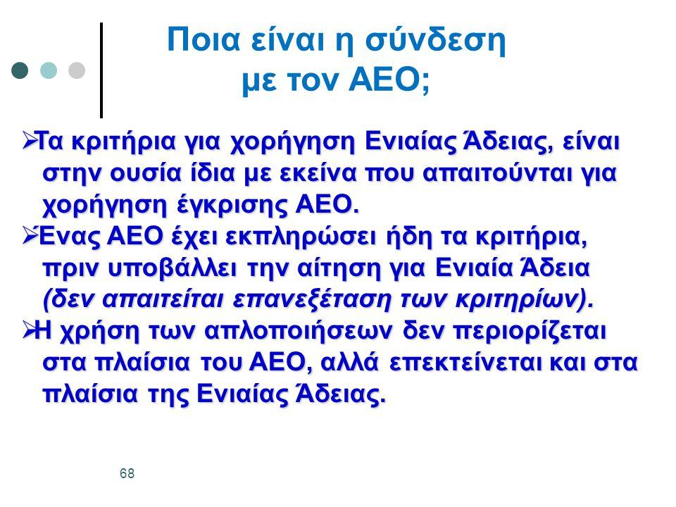 Ποια είναι η σύνδεση με τον ΑΕΟ;  Τα κριτήρια για χορήγηση Ενιαίας Άδειας, είναι στην ουσία ίδια με εκείνα που απαιτούνται για στην ουσία ίδια με εκείνα που απαιτούνται για χορήγηση έγκρισης ΑΕΟ.