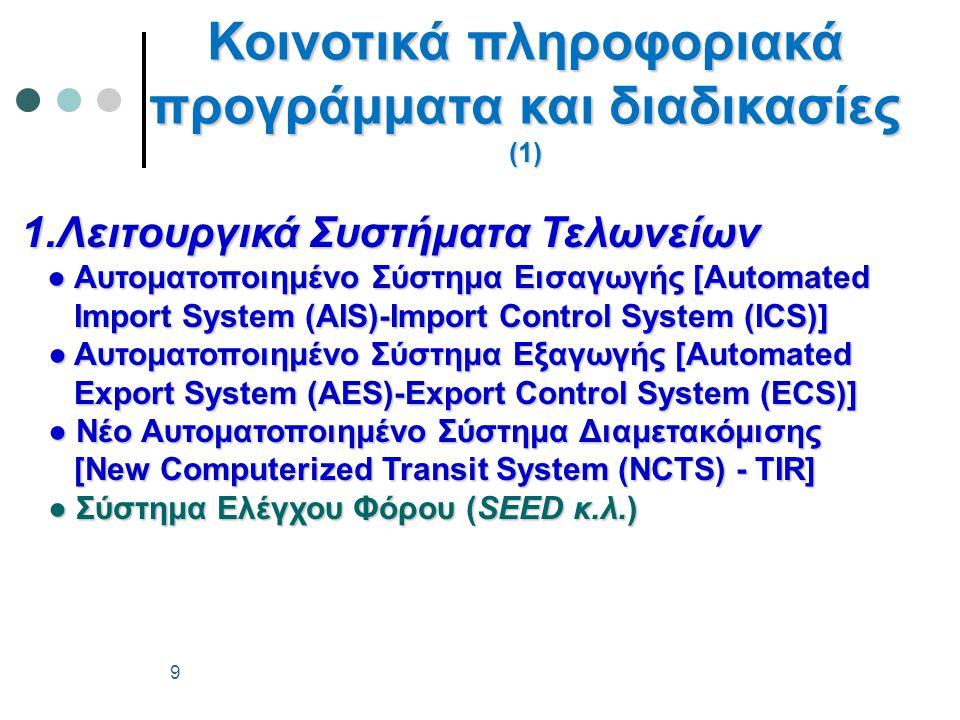1.Λειτουργικά Συστήματα Τελωνείων ● Αυτοματοποιημένο Σύστημα Εισαγωγής [Automated ● Αυτοματοποιημένο Σύστημα Εισαγωγής [Automated Import System (ΑIS)-Import Control System (ICS)] Import System (ΑIS)-Import Control System (ICS)] ● Αυτοματοποιημένο Σύστημα Εξαγωγής [Automated ● Αυτοματοποιημένο Σύστημα Εξαγωγής [Automated Export System (ΑΕS)-Export Control System (ECS)] Export System (ΑΕS)-Export Control System (ECS)] ●Νέο Αυτοματοποιημένο Σύστημα Διαμετακόμισης ● Νέο Αυτοματοποιημένο Σύστημα Διαμετακόμισης [New Computerized Transit System (NCTS) - TIR] [New Computerized Transit System (NCTS) - TIR] ● Σύστημα Ελέγχου Φόρου (SEED κ.λ.) ● Σύστημα Ελέγχου Φόρου (SEED κ.λ.) Κοινοτικά πληροφοριακά προγράμματα και διαδικασίες (1) 9
