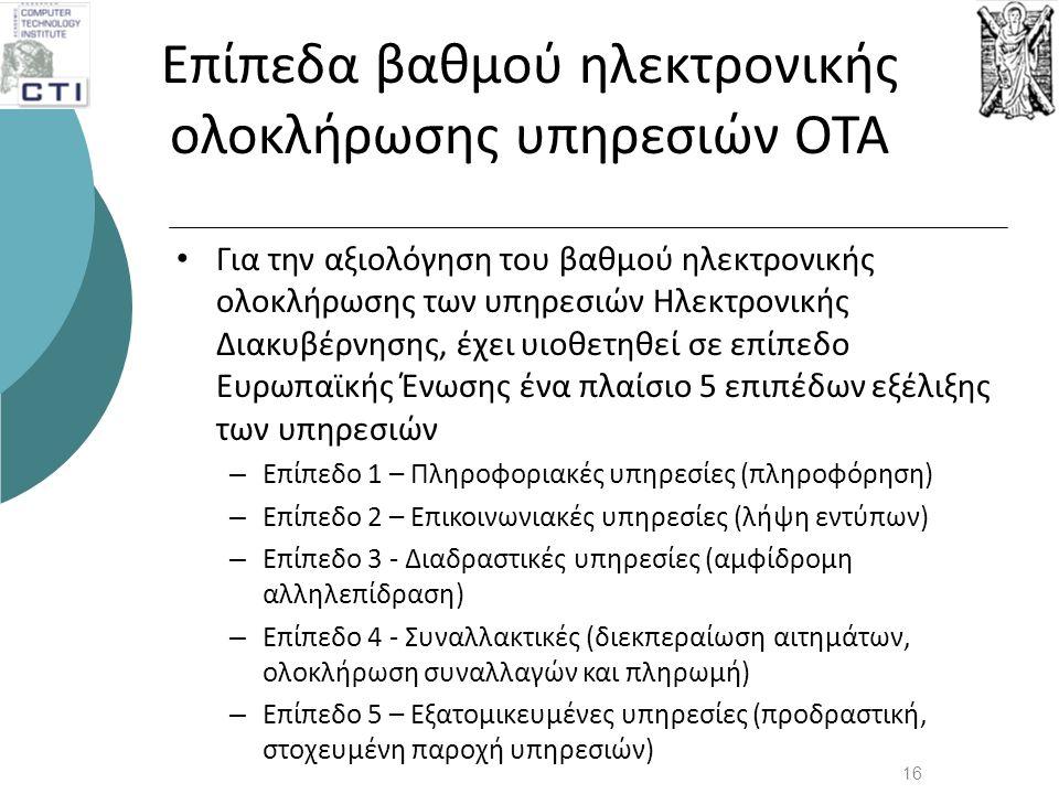 Επίπεδα βαθμού ηλεκτρονικής ολοκλήρωσης υπηρεσιών ΟΤΑ • Για την αξιολόγηση του βαθμού ηλεκτρονικής ολοκλήρωσης των υπηρεσιών Ηλεκτρονικής Διακυβέρνηση
