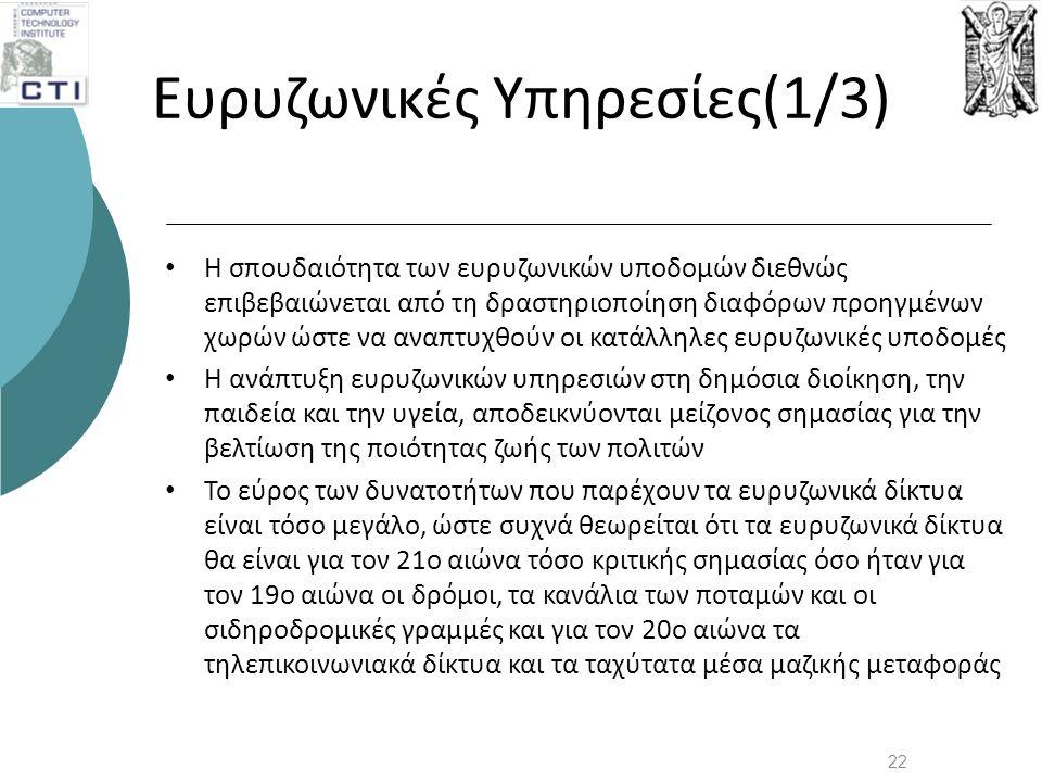 Ευρυζωνικές Υπηρεσίες(1/3) • Η σπουδαιότητα των ευρυζωνικών υποδομών διεθνώς επιβεβαιώνεται από τη δραστηριοποίηση διαφόρων προηγμένων χωρών ώστε να α
