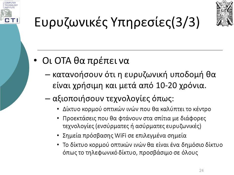 Ευρυζωνικές Υπηρεσίες(3/3) • Οι ΟΤΑ θα πρέπει να – κατανοήσουν ότι η ευρυζωνική υποδομή θα είναι χρήσιμη και μετά από 10-20 χρόνια. – αξιοποιήσουν τεχ