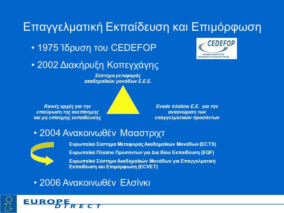 Επαγγελματική Εκπαίδευση και Επιμόρφωση Κοινές αρχές για την επικύρωση της ανεπίσημης και μη επίσημης εκπαίδευσης Ενιαίο πλαίσιο Ε.Ε.