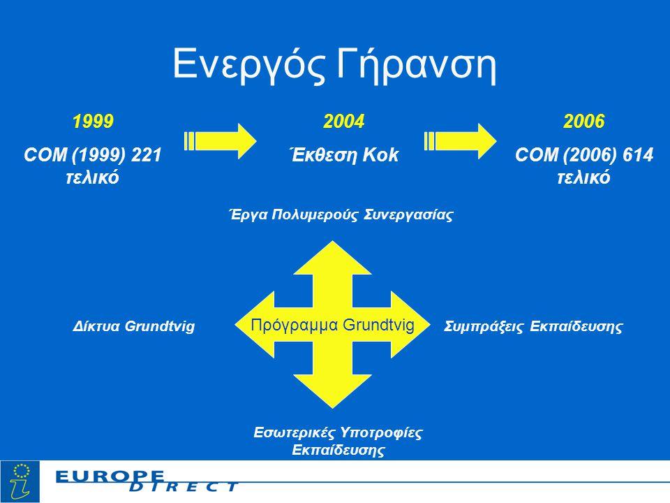 Ενεργός Γήρανση 1999 COM (1999) 221 τελικό 2004 Έκθεση Kok 2006 COM (2006) 614 τελικό Πρόγραμμα Grundtvig Έργα Πολυμερούς Συνεργασίας Δίκτυα Grundtvig Εσωτερικές Υποτροφίες Εκπαίδευσης Συμπράξεις Εκπαίδευσης