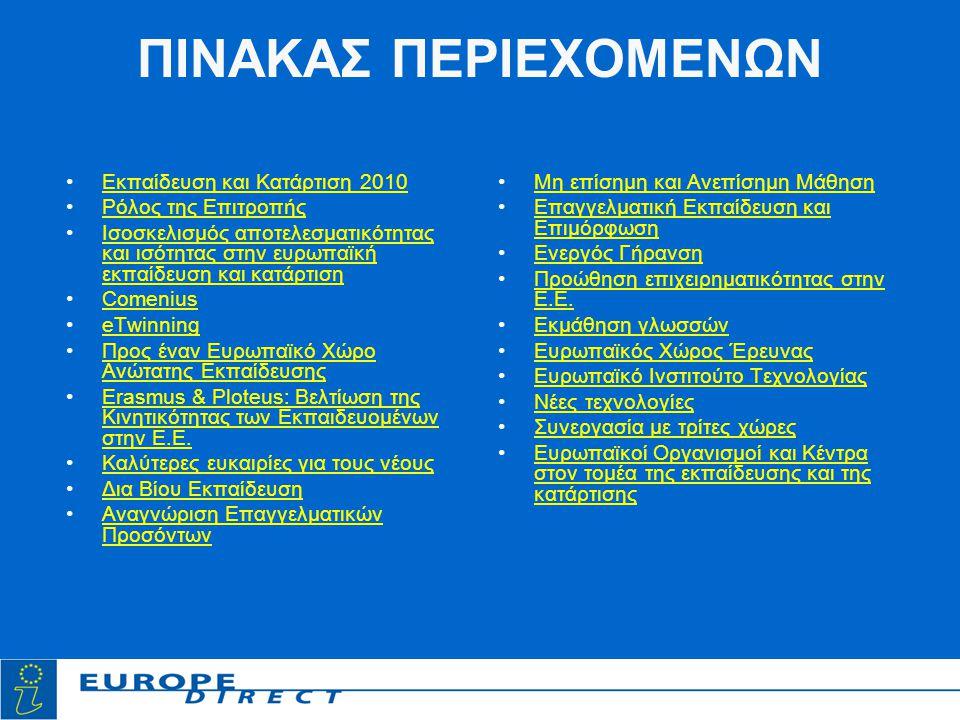 ΠΙΝΑΚΑΣ ΠΕΡΙΕΧΟΜΕΝΩΝ •Εκπαίδευση και Κατάρτιση 2010Εκπαίδευση και Κατάρτιση 2010 •Ρόλος της ΕπιτροπήςΡόλος της Επιτροπής •Ισοσκελισμός αποτελεσματικότητας και ισότητας στην ευρωπαϊκή εκπαίδευση και κατάρτισηΙσοσκελισμός αποτελεσματικότητας και ισότητας στην ευρωπαϊκή εκπαίδευση και κατάρτιση •ComeniusComenius •eTwinningeTwinning •Προς έναν Ευρωπαϊκό Χώρο Ανώτατης ΕκπαίδευσηςΠρος έναν Ευρωπαϊκό Χώρο Ανώτατης Εκπαίδευσης •Erasmus & Ploteus: Βελτίωση της Κινητικότητας των Εκπαιδευομένων στην Ε.Ε.Erasmus & Ploteus: Βελτίωση της Κινητικότητας των Εκπαιδευομένων στην Ε.Ε.