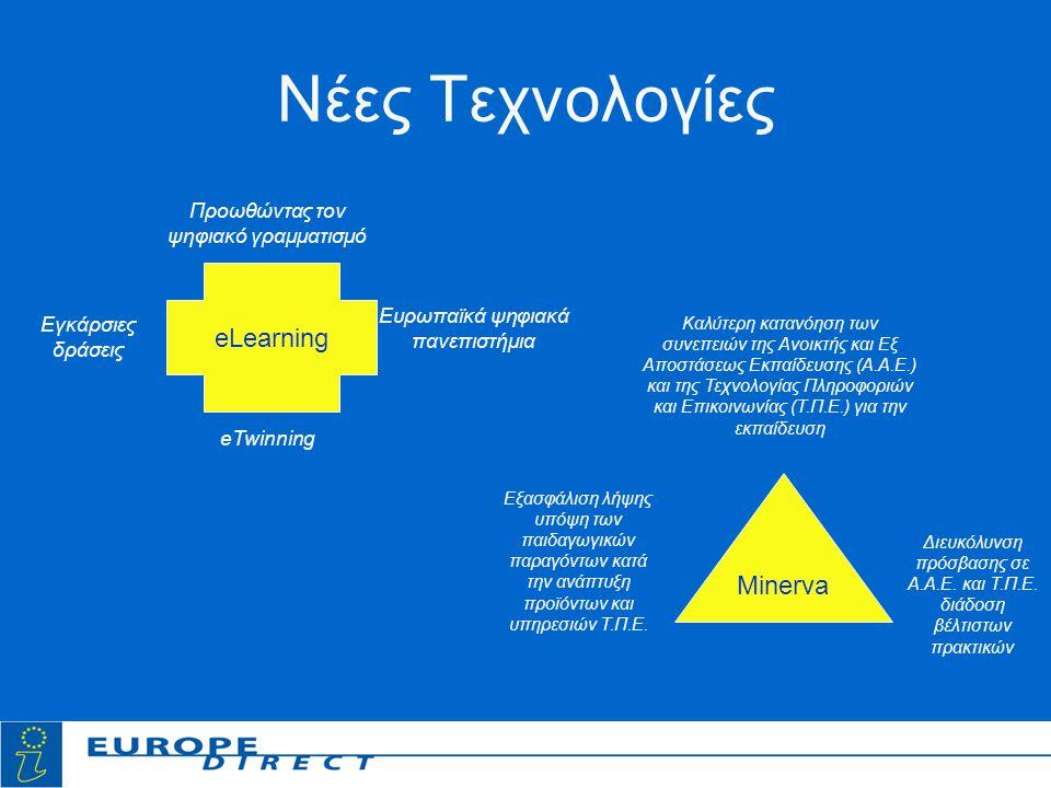 Νέες Τεχνολογίες eLearning Προωθώντας τον ψηφιακό γραμματισμό Ευρωπαϊκά ψηφιακά πανεπιστήμια eTwinning Εγκάρσιες δράσεις Minerva Καλύτερη κατανόηση των συνεπειών της Ανοικτής και Εξ Αποστάσεως Εκπαίδευσης (Α.Α.Ε.) και της Τεχνολογίας Πληροφοριών και Επικοινωνίας (Τ.Π.Ε.) για την εκπαίδευση Εξασφάλιση λήψης υπόψη των παιδαγωγικών παραγόντων κατά την ανάπτυξη προϊόντων και υπηρεσιών Τ.Π.Ε.