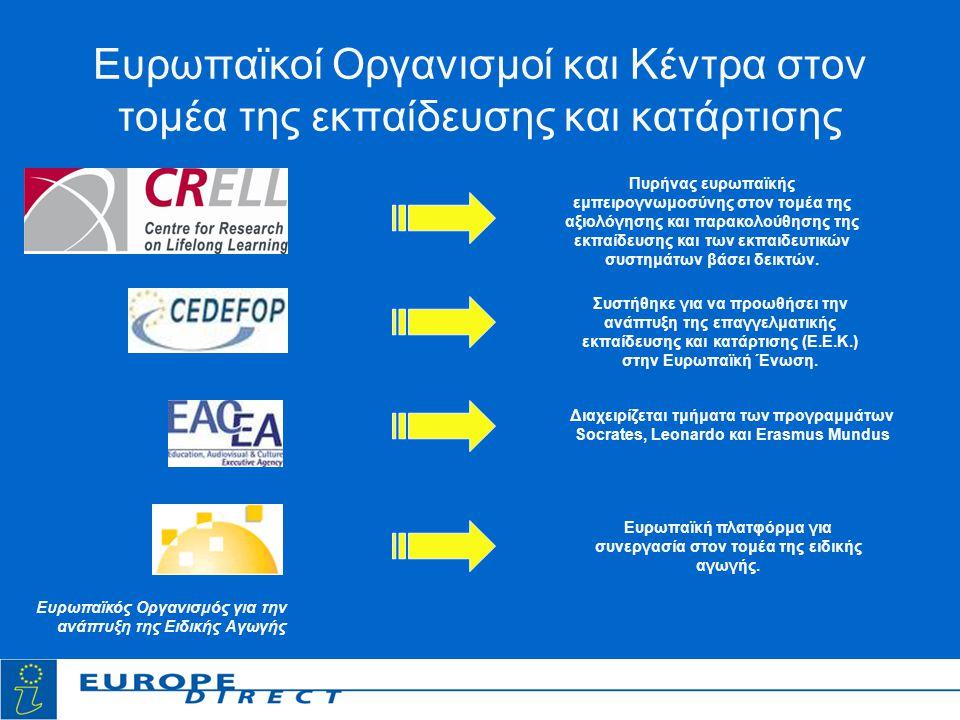 Ευρωπαϊκοί Οργανισμοί και Κέντρα στον τομέα της εκπαίδευσης και κατάρτισης Πυρήνας ευρωπαϊκής εμπειρογνωμοσύνης στον τομέα της αξιολόγησης και παρακολούθησης της εκπαίδευσης και των εκπαιδευτικών συστημάτων βάσει δεικτών.